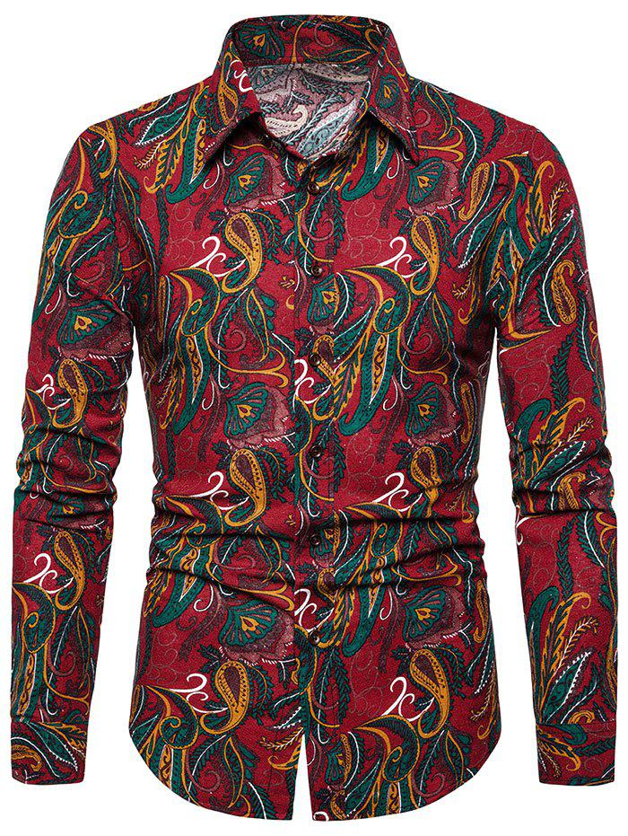 Affordable Seamless Paisley Print Turn-down Collar Casual Shirt