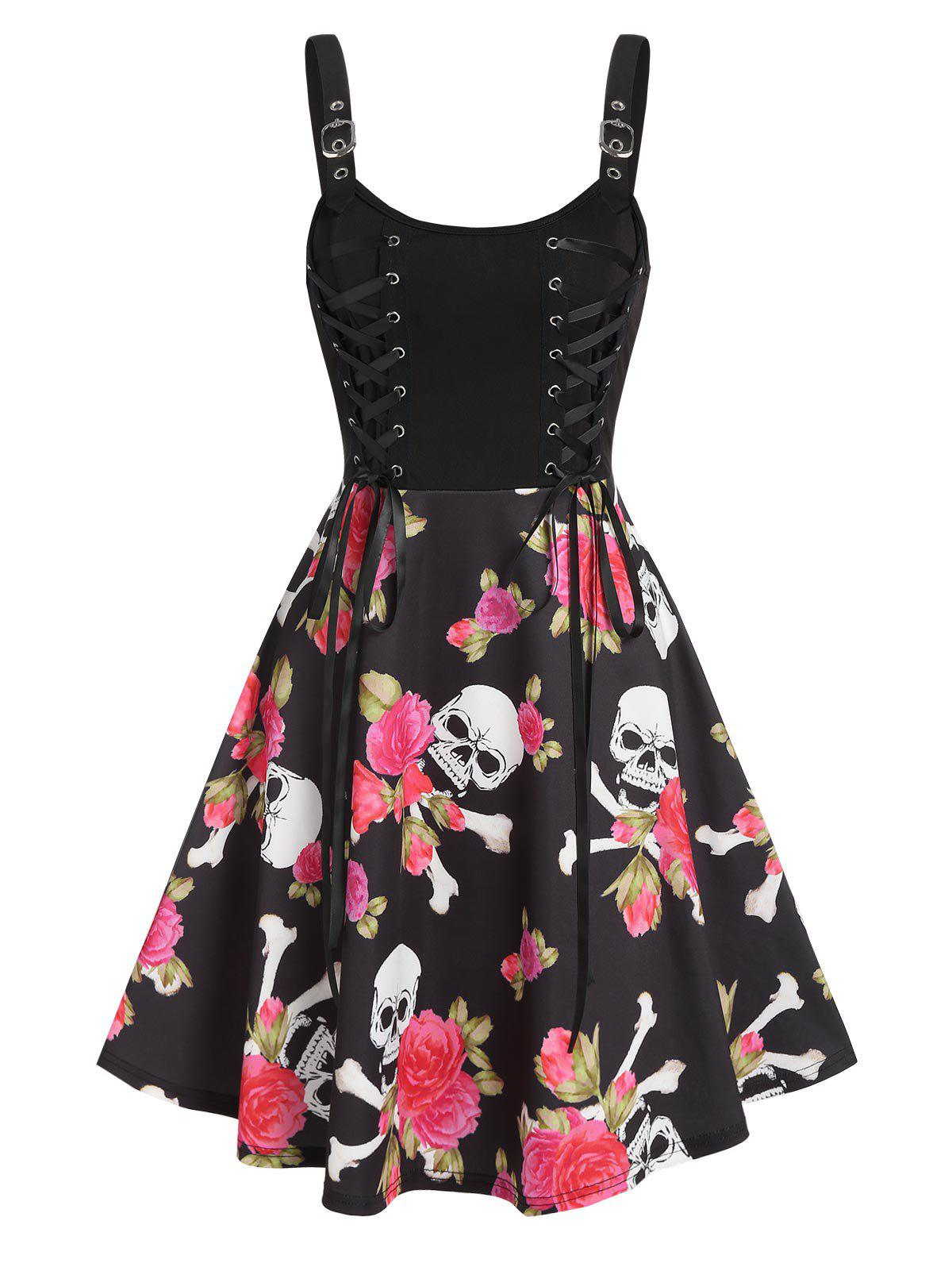 Latest Floral Skull Print Lace Up Mini Cami Dress