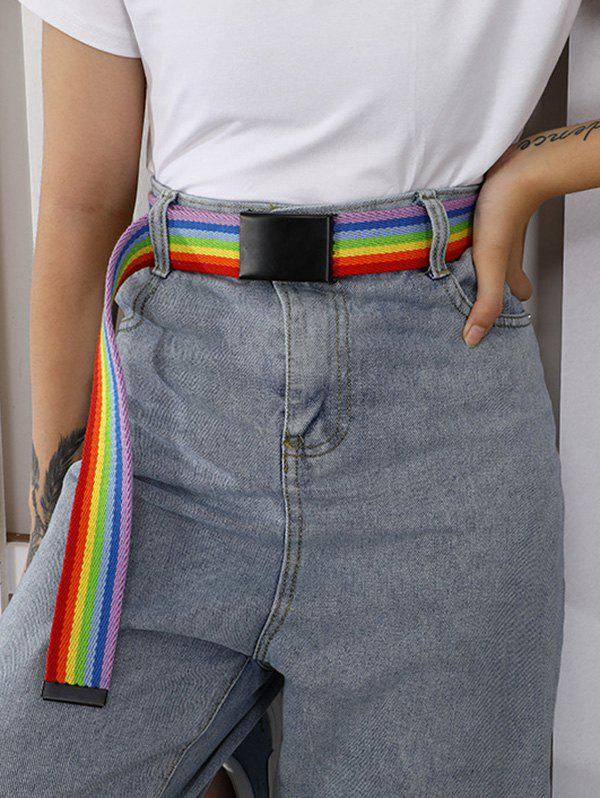 Online Rainbow Stripes Double Ring Buckle Woven Canvas Belt
