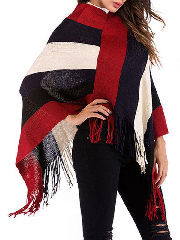 Best Fringed Wide Stripes Poncho