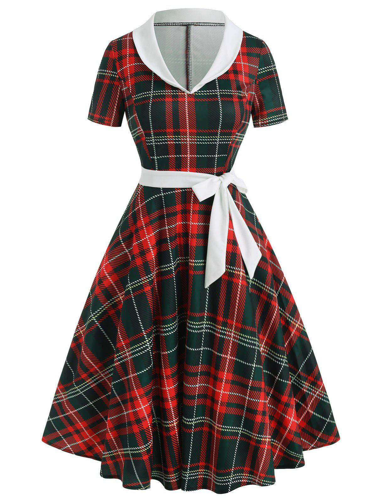 Buy Vintage Shawl Collar Plaid Flare Dress