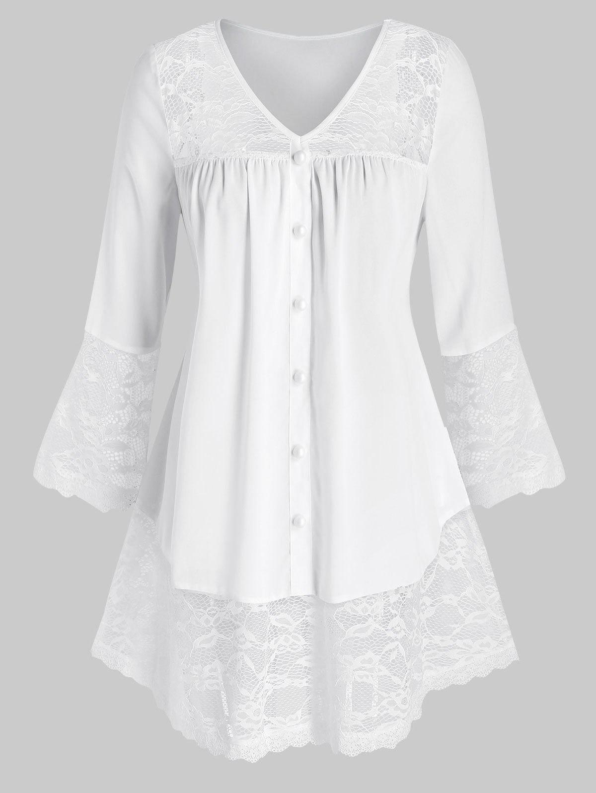 Latest Plus Size Button Lace Panel Flare Sleeve Blouse