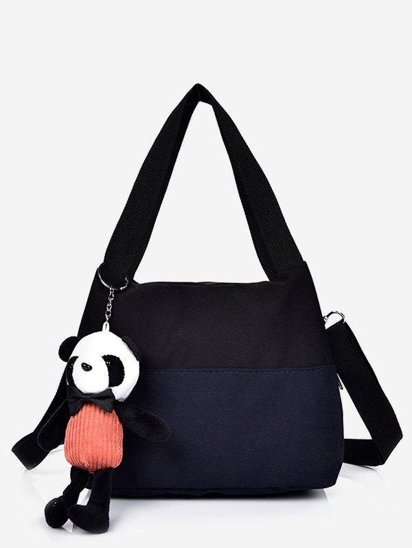 Outfit Canvas Colorblock Panda Pendant Shoulder Bag