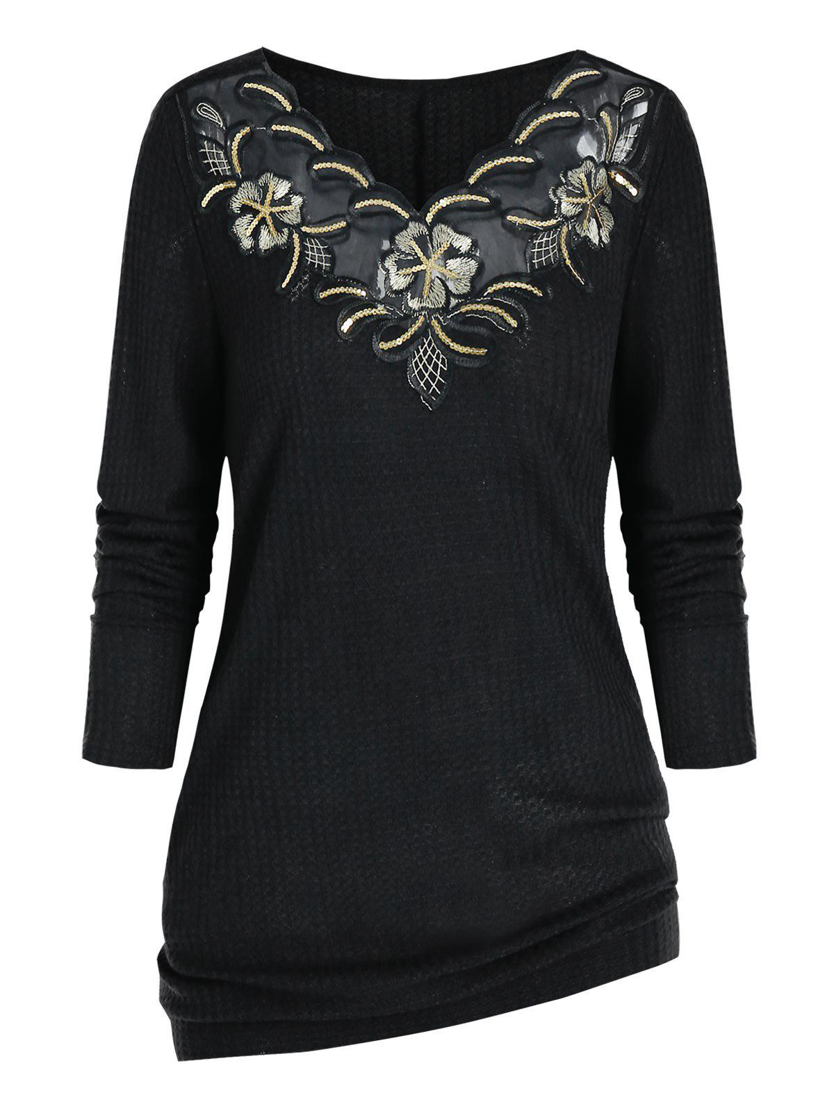 Hot Plus Size Embroidered Sequin Knitwear