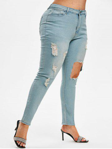 Distressed Cut Out Plus Size Skinny Jeans - LIGHT BLUE - 2XL
