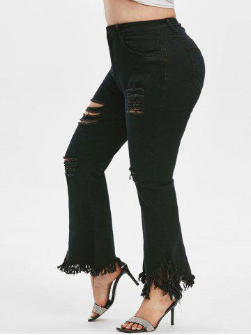 Frayed Hem Distressed Plus Size Flare Jeans