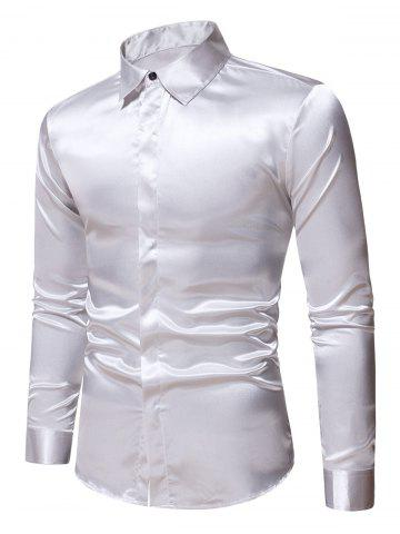 Plain Satin Button Up Long Sleeve Shirt - SILVER - XL