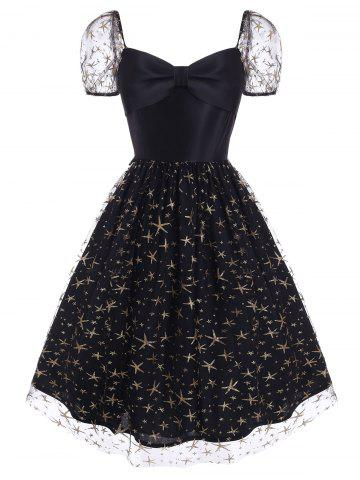 Sparkly Star Lace Insert Sweetheart Bowknot Dress