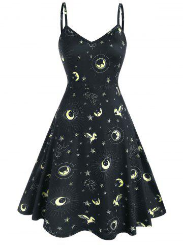 Plus Size Universe Print A Line Dress