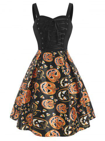 Halloween Pumpkin Lace Up Sleeveless Dress