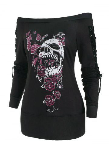 Butterfly Skull Lace Up Holloween Top