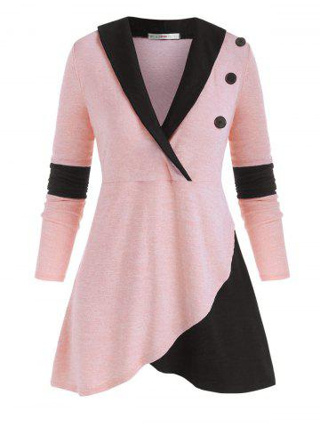 Mock Buttons Heathered Colorblock Plus Size Knitwear - LIGHT PINK - 4X