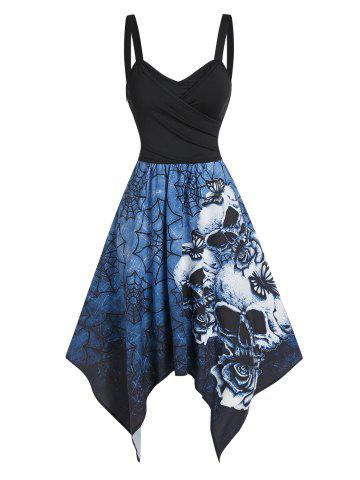 Skull Spider Web Print Tie Back Asymmetric Cami Dress