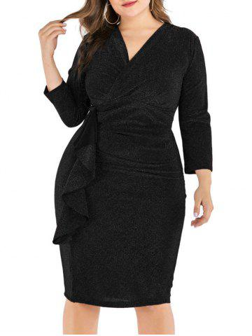 Plus Size Shimmer Knit Ruffle Bodycon Dress