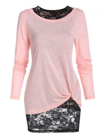 Long Sleeve Twisted T-shirt and Flower Lace Tank Top