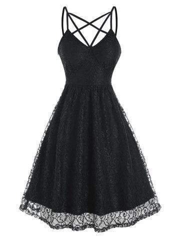 Strappy Sleeveless Lace Party Dress