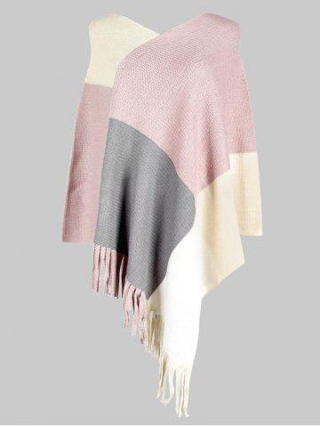 Plus Size Fringe Colorblock Poncho Sweater - LIGHT PINK - ONE SIZE