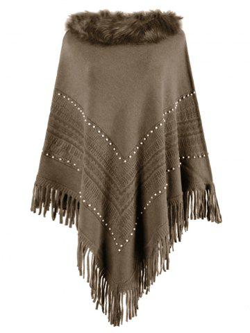 Plus Size Beaded Faux Fur Fringed Poncho Sweater - COFFEE - ONE SIZE