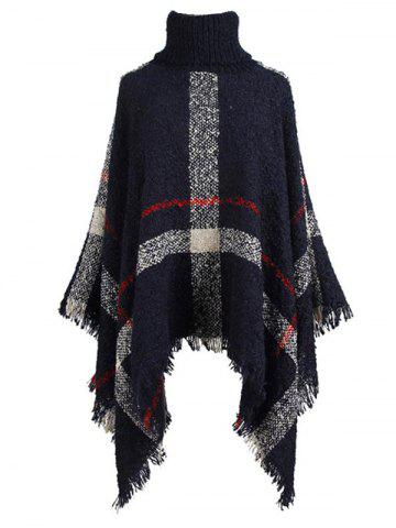 Plus Size Asymmetric Turtleneck Plaid Poncho Sweater - DEEP BLUE - ONE SIZE
