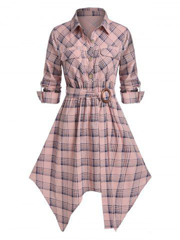 Plus Size Plaid Hanky Hem Belted Pocket Roll Tab Sleeve Dress