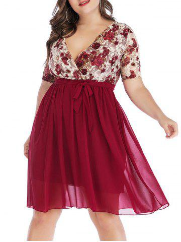 Plus Size Floral Lace Plunge Surplice Dress - DEEP RED - XL