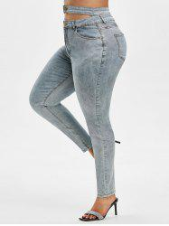 High Waisted Plain Cut Out Plus Size Skinny Jeans -