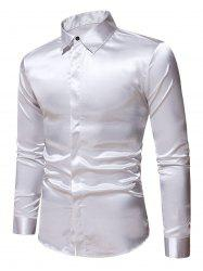 Plain Satin Button Up Long Sleeve Shirt -