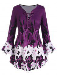 Plus Size Floral Print Bell Sleeve Lace Up Top -
