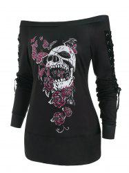 Butterfly Skull Lace Up Holloween Top -