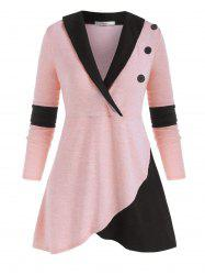 Mock Buttons Heathered Colorblock Plus Size Knitwear -
