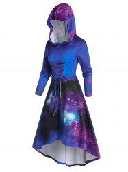 Hooded Galaxy Printed Fit And Flare Dress -