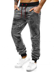 Paint Splatter Print Drawstring Jogger Pants -