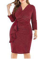Plus Size Shimmer Knit Ruffle Bodycon Dress -