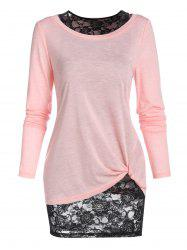 Long Sleeve Twisted T-shirt and Flower Lace Tank Top -