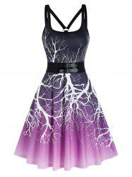 Ombre Tree Print Dual Buckles Cami A Line Dress -