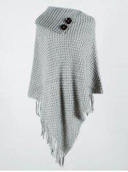 Plus Size Fringe Asymmetric Poncho Sweater -