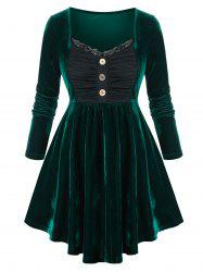 Plus Size Ruched Bust Velvet Lace Panel Skirted Tunic Top -