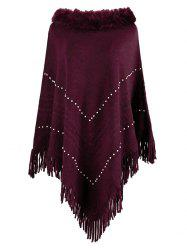 Plus Size Beaded Faux Fur Fringed Poncho Sweater -