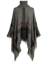 Plus Size Asymmetric Turtleneck Plaid Poncho Sweater -