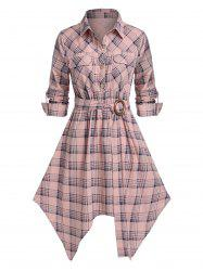 Plus Size Plaid Hanky Hem Belted Pocket Roll Tab Sleeve Dress -