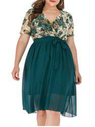 Plus Size Floral Lace Plunge Surplice Dress -