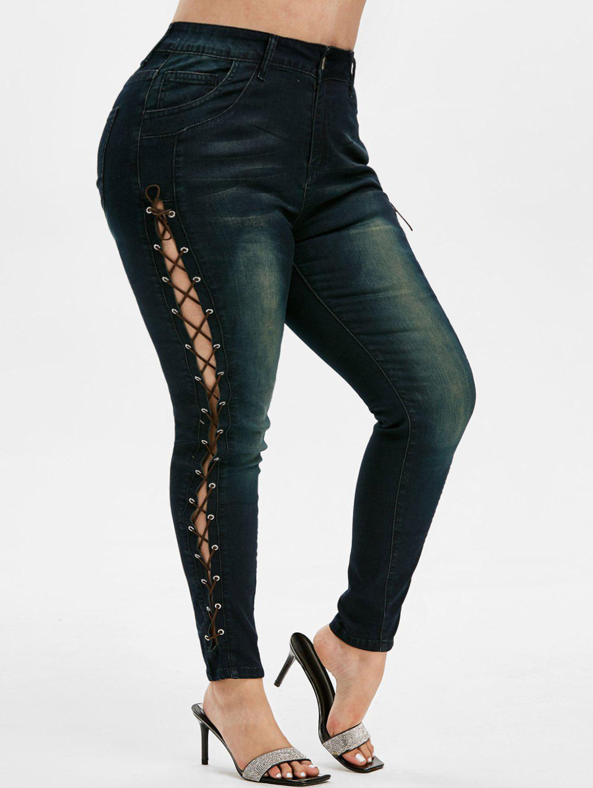Cheap High Waisted Lace Up Plus Size Skinny Jeans