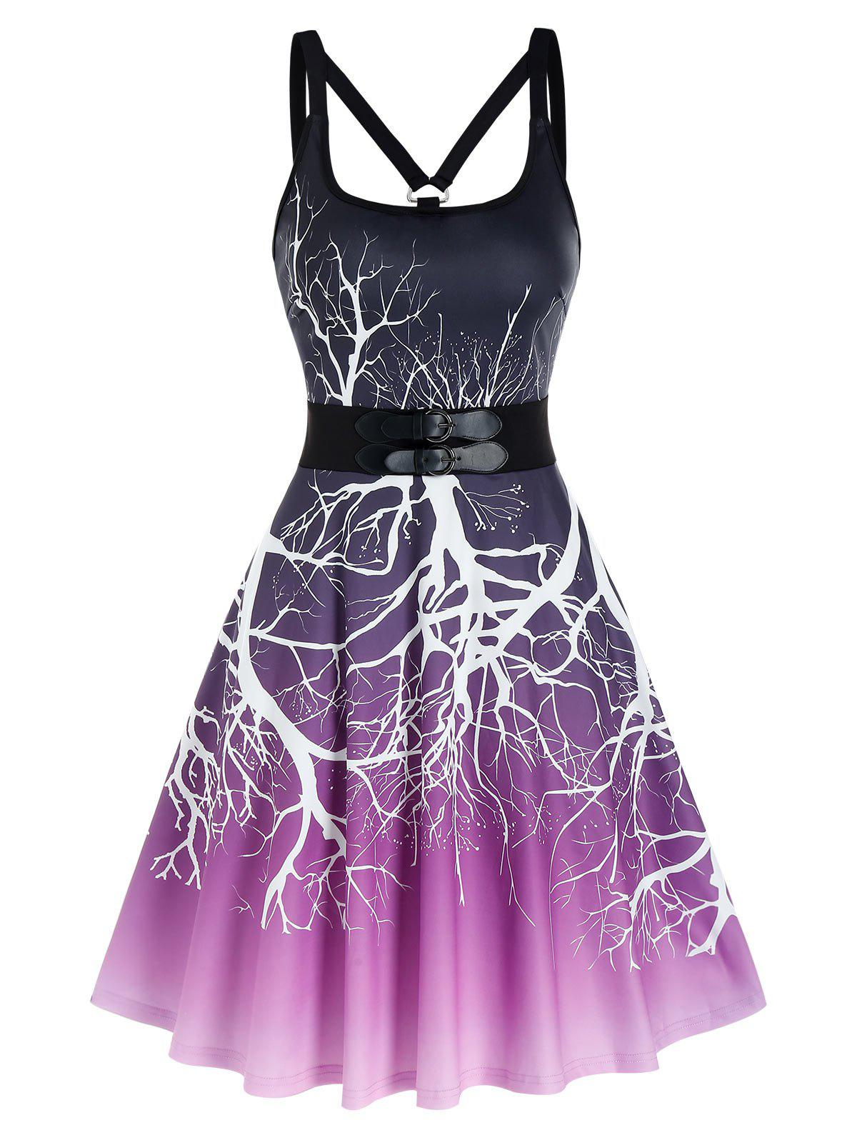 Hot Ombre Tree Print Dual Buckles Cami A Line Dress