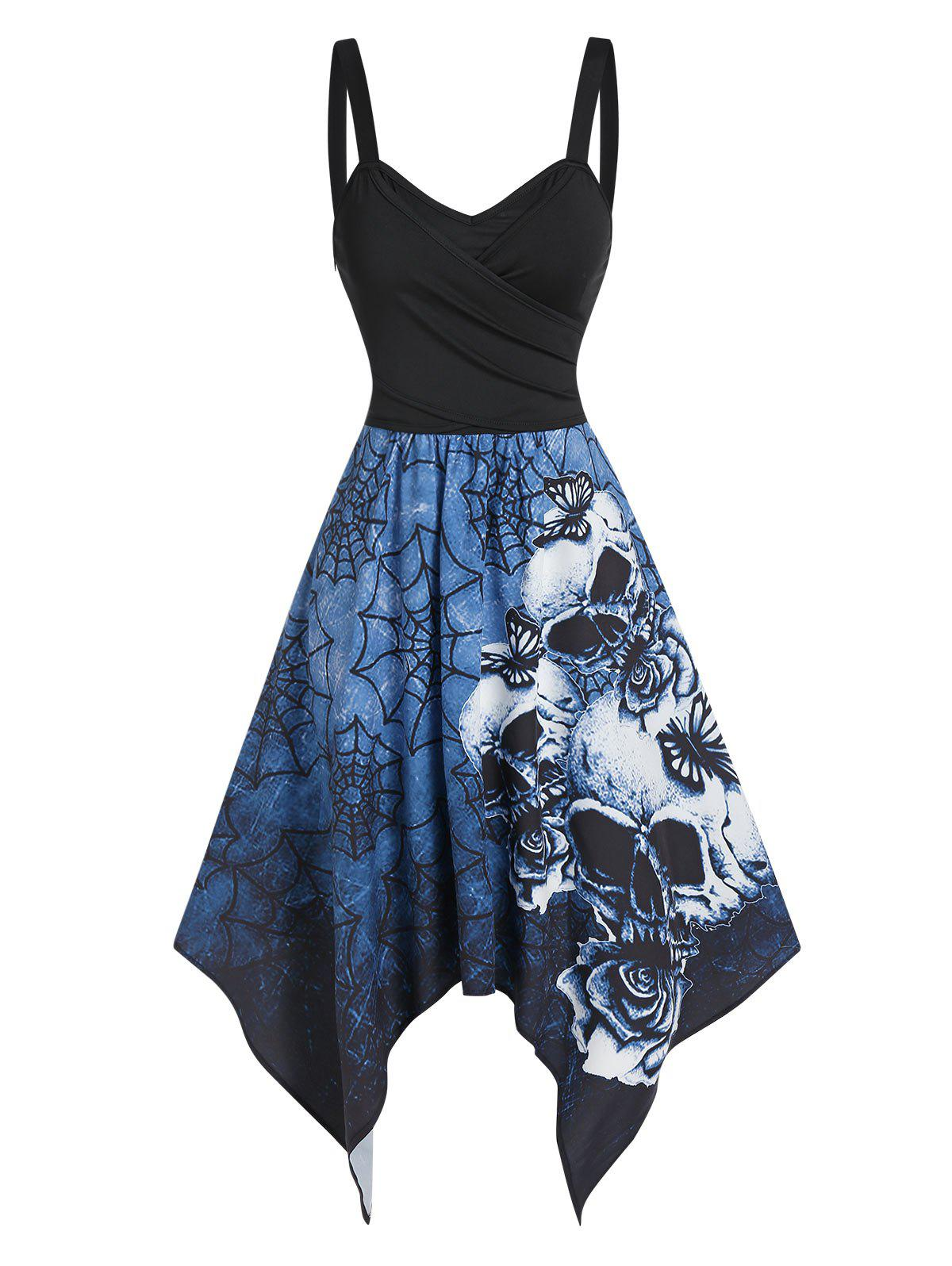 Outfits Skull Spider Web Print Tie Back Asymmetric Cami Dress
