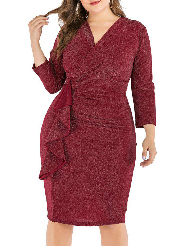 Shops Plus Size Shimmer Knit Ruffle Bodycon Dress