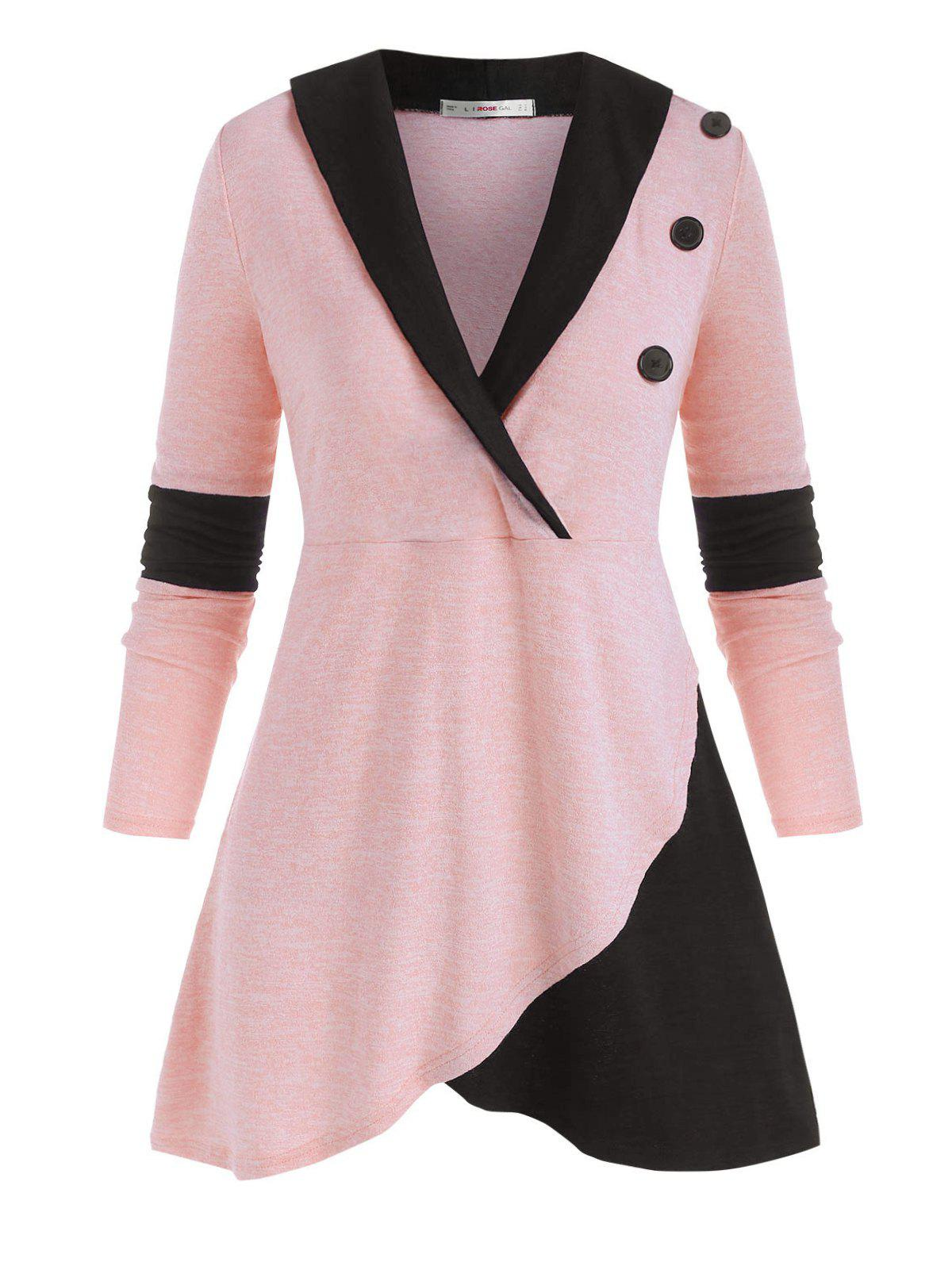 Discount Mock Buttons Heathered Colorblock Plus Size Knitwear