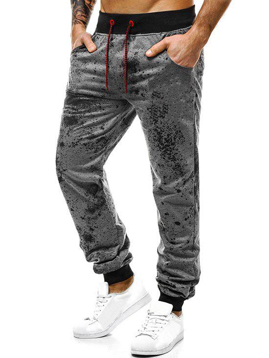 Unique Paint Splatter Print Drawstring Jogger Pants