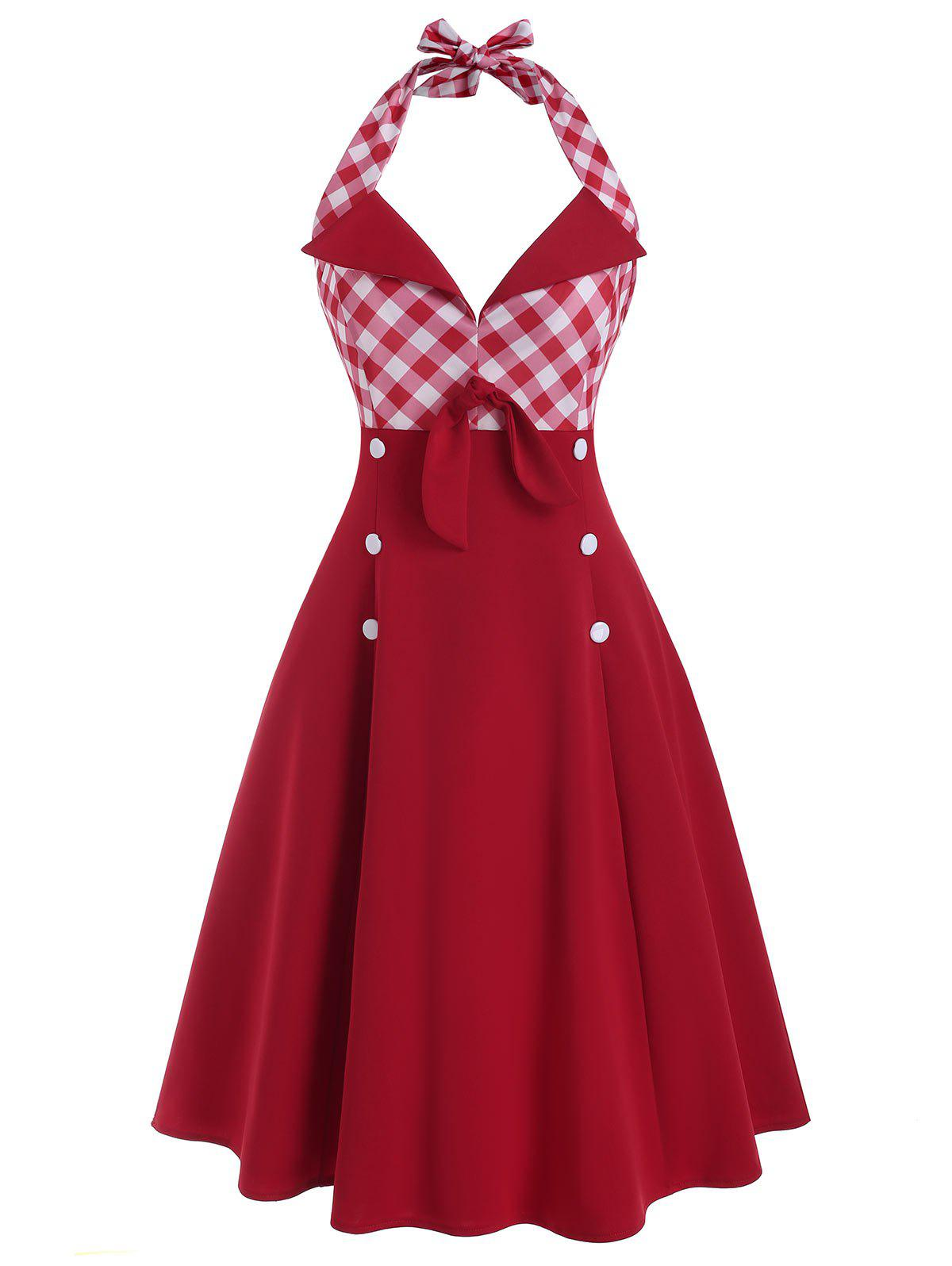 Hot Plaid Tied Button Embellished Backless Dress