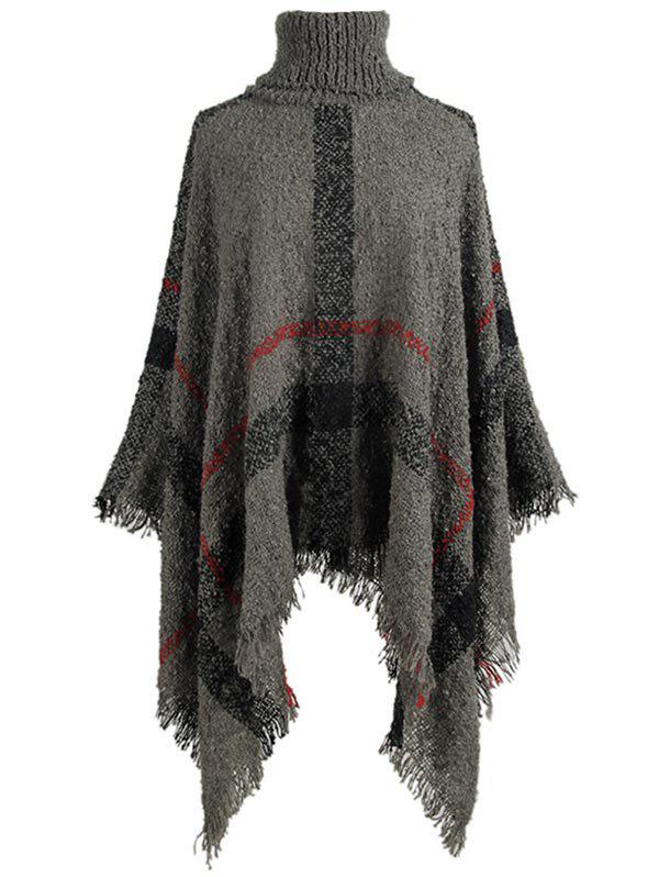 Outfit Plus Size Asymmetric Turtleneck Plaid Poncho Sweater
