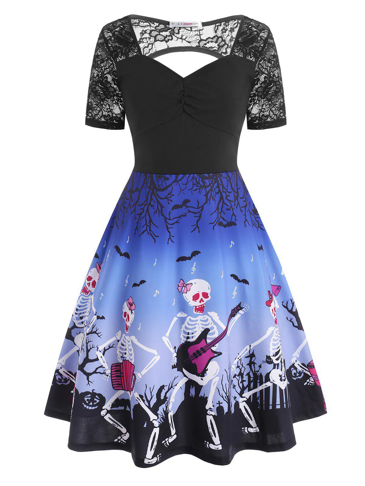 Trendy Plus Size Halloween Cutout Skeleton Playing Guitar Dress